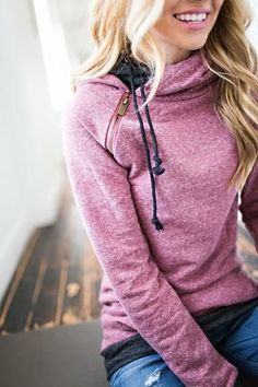 Beautiful color and style of this hoodie/sweatshirt! Double Hooded Sweatshirt -Blended Berry http://mindymaesmarket.com/products/double-hooded-sweatshirt-maroon-charcoal