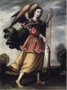 Weird and beautiful and ordinary and extraordinary. An angel, walking, carrying a fish.It's the archangel Raphael, protector of travelers. The supreme healer in the angelic realm.Painted in Peru sometime around 1700, in the collection of the Brooklyn Museum of Art.
