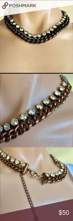 """Chico's Copper Rhinestone Choker Necklace Jewelry Chico's  Copper Chunky Link Rhinestone Collar Choker Necklace Jewelry  Beautiful, never worn but has no tag. One of Chico's better pieces. The rhinestones have a muted sparkle and are set in prongs. The chain is a copper color.  Length 9"""" when closed with a 4.5 extender Chico's Jewelry Necklaces"""