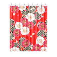 "Red White Japanese Kimono Pattern Window Curtain 52"" x 63""(One…"