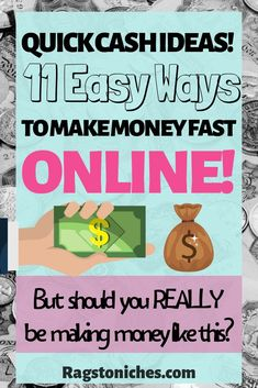 Looking for Fast money making ideas? Here are 11 awesome quick cash ideas, for when you want to make money … Make Money Fast Online, Make Money From Home, Way To Make Money, How To Make, Quick Cash, Quick Money, Extra Money, Fast Cash, Legit Work From Home