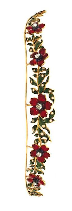 Alt view of A late 19th century enamel and diamond tiara  Composed of red enamel flowerheads between green enamel foliate sections, highlighted with rose-cut diamonds, circa 1890