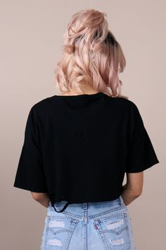 PYLO DISTRESSED CROP TEE IN BLACKMAIL - PYLO