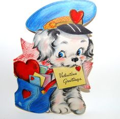 Puppies and dogs are just as common on vintage Valentines. Valentine Images, Vintage Valentine Cards, Vintage Greeting Cards, Vintage Holiday, Valentine Day Cards, Valentines Diy, Valentines Illustration, Cute Illustration, Vintage Dog