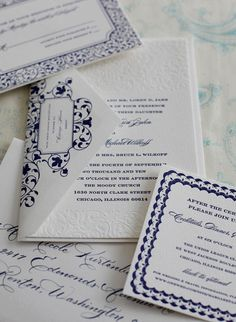 Navy and white letterpress