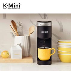 The Keurig k-mini single serve Coffee maker features a new sleek design, and at less than wide is the perfect size for any space or occasion. The k-mini brewer. Best Iced Coffee, Cold Brew Iced Coffee, Coffee Brewer, Coffee Pods, Coffee Coffee, Starbucks Coffee, Coffee Drinks, Coffee Beans, Drip Coffee