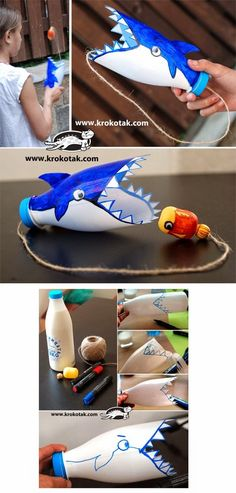 Keep your kids busy with these 9 fun bastions Beschäftige deine Kinder drinnen mit diesen 9 lustigen Bastelideen – DIY Bastel… – Erziehung Keep your kids busy indoors with these 9 fun DIY craft ideas - Empty Plastic Bottles, Plastic Bottle Crafts, Recycled Plastic Bottles, Water Bottle Crafts, Plastic Craft, Summer Crafts, Fun Crafts, Summer Fun, Boat Crafts