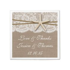 The Rustic Starfish Beach Wedding Collection Napkin