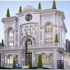 Painting For Home Decoration Classic House Exterior, Classic House Design, Duplex House Design, House Front Design, Dream House Exterior, Dream Home Design, Modern House Design, Villa Design, Facade Design
