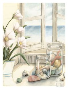 Small Beach House View I Premium Giclee Print by Megan Meagher at Art.com