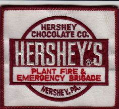 TWO HERSHEY, PENNSYLVANIA CHOCOLATE FACTORY FIRE DEPARTMENT PATCHES