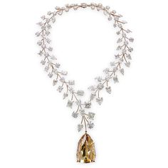 L'Incomparable diamond necklace. The18k rose gold necklace's centerpiece gem is a 407.48-carat Fancy Deep brownish yellow shield step-cut diamond, which is the largest internally flawless diamond ever graded by GIA.