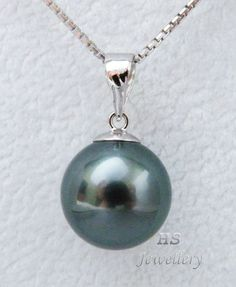 HS Black #Tahitian South Sea Cultured #Pearl 11.49mm 18KWG #Pendant Top Grading #Jewelry #Anniversary #FreeShipping