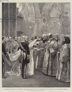 The Imperial Wedding at St Petersburg, the Bride receiving Holy Water in the Church of St Peter and St Paul before the Wedding (engraving)