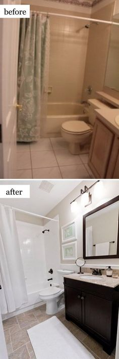 Small Bathroom Ideas Makeovers Pinterest Small Bathroom Bath - Cheap bathroom renos