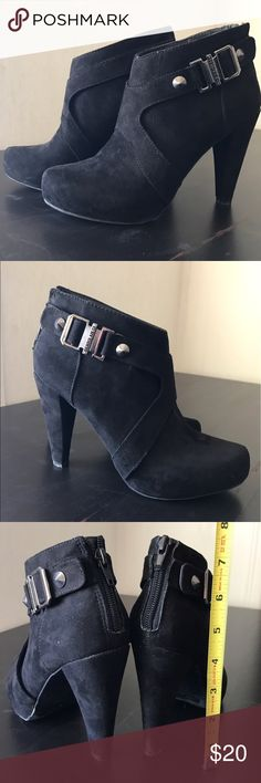 Guess Bootie Heels Worn a few times & has minor wear on bottom (see pics). Black suede, comfortable, silver buckles & overall super cute & stylish! Guess Shoes Ankle Boots & Booties
