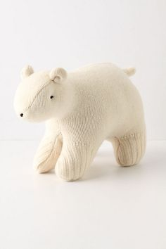 Recycled Polar Bear $28    Hand-sewn from repurposed sweaters by the artisans of Pear Tree Studio in their converted New Hampshire barn space, this plush teddy is an eco-friendly addition to your little one's plush menagerie. One of a kind, the texture will vary slightly from bear to bear.