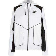 Nike White Perforated Full-Zip Hoodie Jacket ($165) ❤ liked on Polyvore featuring activewear, activewear jackets, nike activewear, nike sportswear i nike