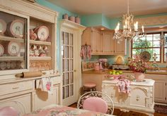 Pink & aqua kitchen