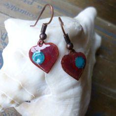 Boucles d 'oreilles shabby chic, coeurs, vieux rose, rouge, turquoise, émaillées, cuivre, émail, saint valentin