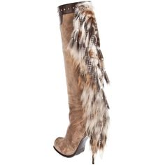 GIANMARCO LORENZI COLLECTOR Long boot with fur tassel (€830) ❤ liked on Polyvore featuring shoes, boots, women, fur shoes, long shoes, gianmarco lorenzi boots, studded shoes and gianmarco lorenzi