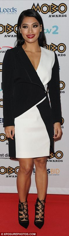 In black and white: The Saturdays singer Vanessa White wore a monochrome outfit with on-tr. Peplum Dress, Wrap Dress, White Highlights, Monochrome Outfit, Leather Trousers, How To Slim Down, Red Carpet Fashion, Awards, Jumpsuit