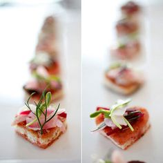 Canapés shaped like hearts? Now that's inventive, especially when garnished with sophisticated ingredients like beet julienne, fennel, pea shoot slaw, and goat cheese mousse