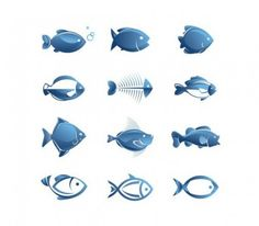 Simple blue fish vector illustrations set