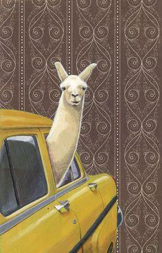 Taxi Llama by Jason Ratliff via http://society6.com