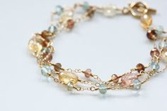 AAA Imperial Topaz Bracelet, Moss Aquamarine Bracelet, Andalusite Bracelet, 14k Gold Filled, Wire Wrapped, March November Birthstone on Etsy, $225.00