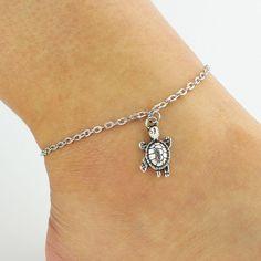 Cute Little Turtle Pendant Silver Anklet