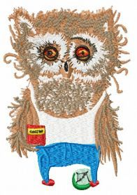 Owl's morning machine embroidery design. Machine embroidery design. www.embroideres.com