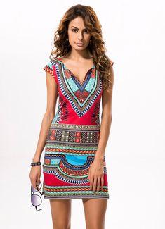 Vintage Retro Print Ethnic Boho Mini Dress