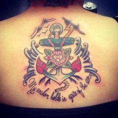 Anchor, Modznrockers, Blackpool. #Tattoo #Custom #Freehand #Anchor #Colour #Script