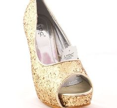 Lydc Ladies Gold High Shine Evening Shoes High Heels Box Dust Bag