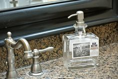 Blue Nectar Tequila soap dispenser made from upcycled tequila bottle.  Would turn heads in your bathroom or kitchen!  Click the photo to learn more or Google @lookingsharpcactus
