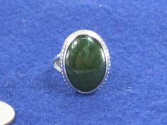 Sterling Silver Dark Green Turquoise Native American Styled Ring Size 6