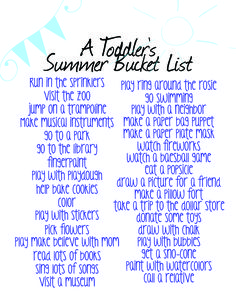 A Toddler's Summer Bucket LIst - free printable and lots of ideas to keep your kiddos busy.
