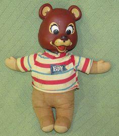 1965 BIFF Talking MATTEL Teddy Bear Vintage Rubber Head Plush Body WORKS! Doll #Mattel