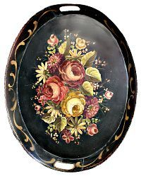 Antique Large Hand Painted Toleware Tray