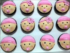 Cupcakes, Combining Soft Color And Face Pattern On Baby Shower Cupcakes 00707: Cute Baby Shower Cakes Design & Decoration