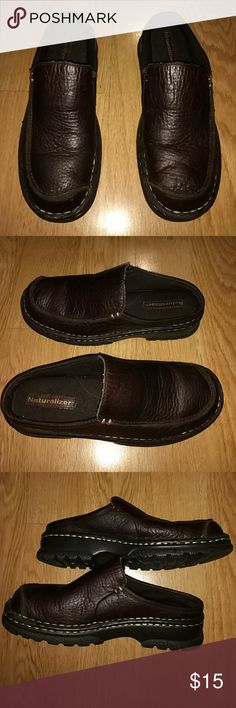Naturalizer Slip Ons Brown leather slip ons with gold stitching around them good rubber soles medium width Naturalizer Shoes