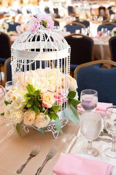 Wedding Centerpiece - Vintage, birdcage, pearl, blush, pastel.