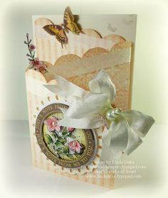Z-Fold Card designed by Linda Duke using Botanical Butterflies, Ticking Stripe, Vintage Wallpaper