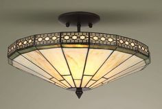 Mission Tiffany Style Glass Semi Flush Ceiling Light | Tiffany Style Lighting - Table Lamps, Wall Lights, Floor Lamps, Ceiling / Pendant Lights.