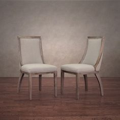 Constructed from gorgeous solid wood and upholstered with handsome beige linen, these contemporary dining chairs from Park Avenue add a touch of class to any home. The neutral tones of the upholstery