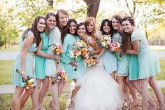 Love the mint mismatched bridesmaids dresses!