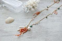 Fringe*Coral long necklace   koaniani
