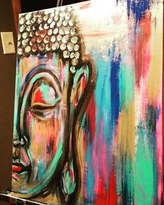 "Abstract Buddha. Original art by JulieAnna Art. Acrylic on 16x20"" Flat Canvas. Etsy shop https://www.etsy.com/listing/290903713/abstract-buddha-by-julieanna-art-16x20"