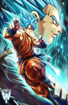 Super Saiyan Gods Goku & Vegeta by Wizyakuza